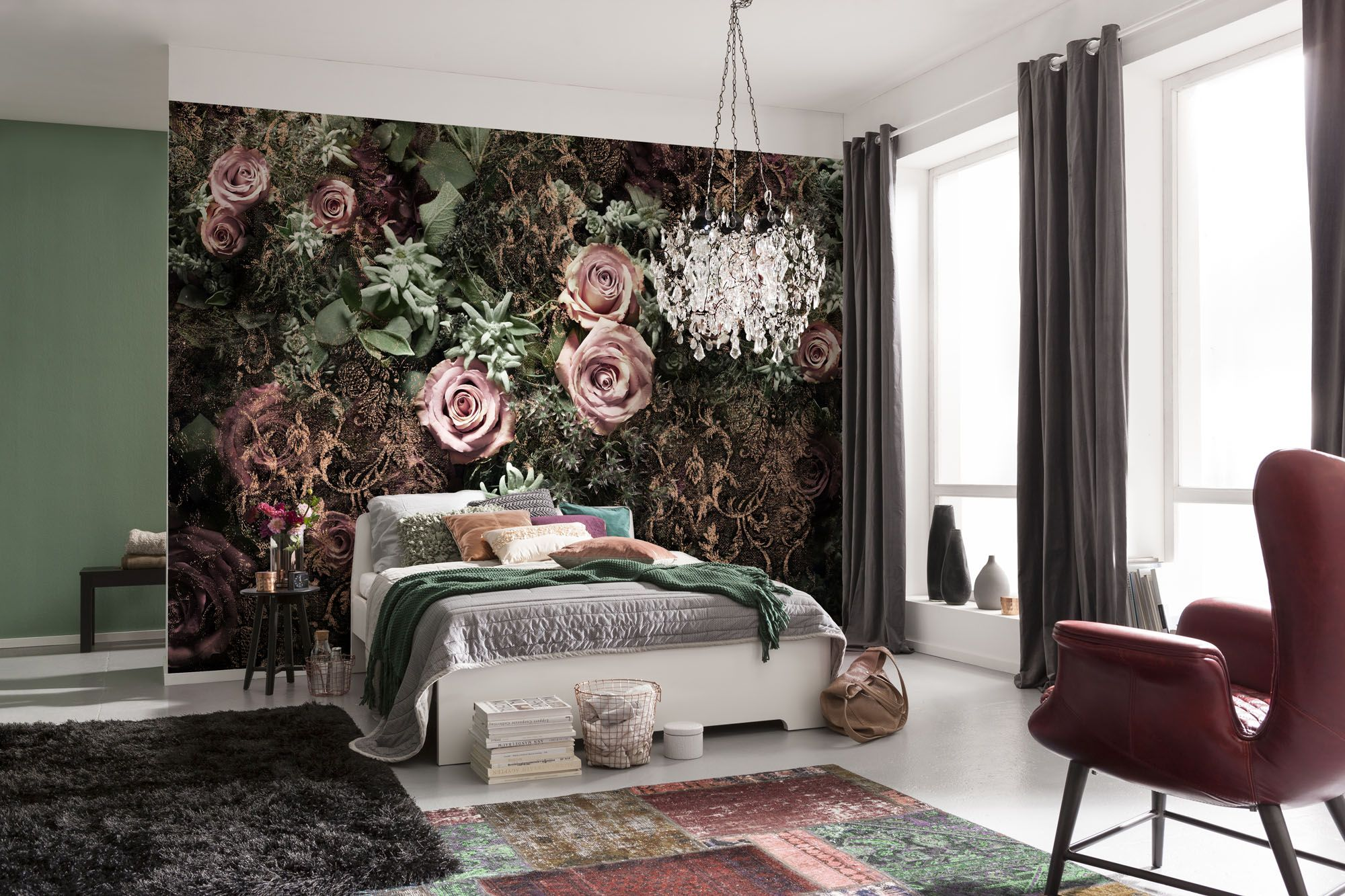 Murals For Outside Walls Black And Pink Velvet Roses Paper Wallpaper Homewallmurals
